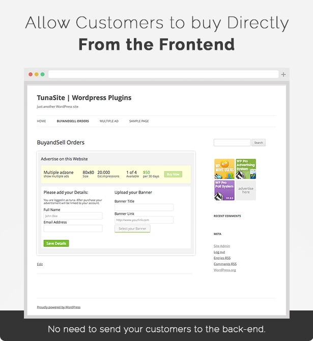 Sell Ads directly from the frontend of your website